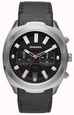 Diesel Orologio da uomo con cinturino in pelle nera DZ4499