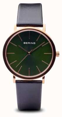 Bering Classico | cinturino nero in oro rosa lucido 13436-469