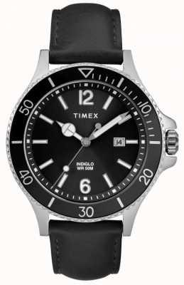 Timex   uomo   indiglo harbourside   quadrante nero   pelle nera   TW2R64400D7PF
