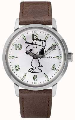 Timex Cinturino in pelle marrone quadrante argentato Snoopy TW2R94900