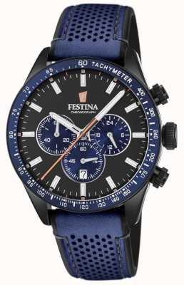 Festina Cinturino da uomo cronografo quadrante nero cinturino in pelle blu F20359/2