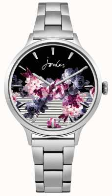 Joules Quadrante floreale con cinturino in acciaio inossidabile con flora femminile JSL002SM