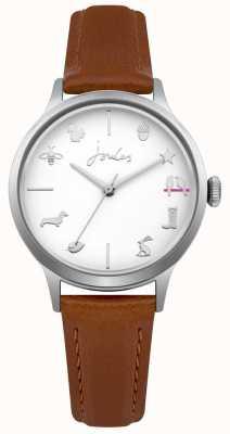 Joules Quadrante bianco da donna con cinturino in pelle marrone chiaro JSL011T