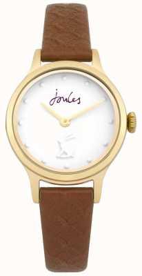 Joules Quadrante bianco da donna con cinturino in pelle marrone chiaro JSL007TG