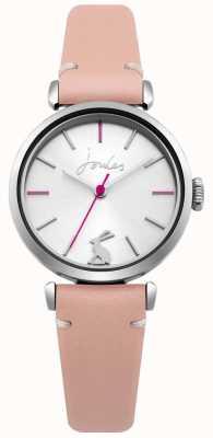 Joules Quadrante argentato sunray con cinturino in pelle rosa da donna JSL004P
