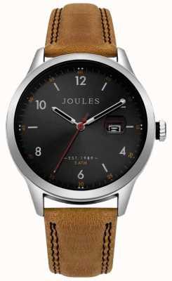 Joules Quadrante nero con cinturino in pelle marrone sabbia da uomo JSG004T