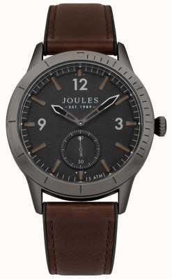 Joules Quadrante nero con cinturino in pelle marrone ryley da uomo JSG006BRB