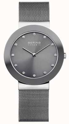 Bering Quadrante grigio con cinturino in maglia di ceramica grigia 11435-389