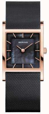 Bering Bracciale in maglia nera da donna con quadrante in madreperla nera 10426-166-S