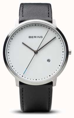 Bering Cinturino in pelle nera unisex quadrante bianco 11139-404
