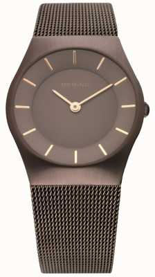 Bering orologio classico da donna in acciaio rubino color marrone 11930-105