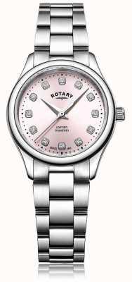 Rotary Bracciale da donna in acciaio con quadrante rosa con diamante rosa LB05092/07/D