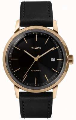 Timex Orologio da uomo automatico con cinturino in pelle nera Marlin TW2T22800