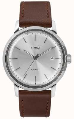 Timex Quadrante argentato automatico in pelle marrone da uomo TW2T22700