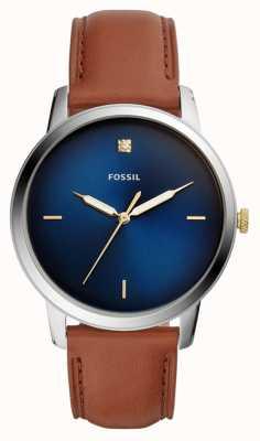 Fossil Quadrante blu da uomo con cinturino in pelle marrone con quadrante minimalista FS5499