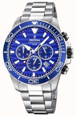 Festina Quadrante blu cronografo da uomo in acciaio inossidabile F20361/2