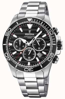 Festina Quadrante nero cronografo in acciaio inossidabile da uomo F20361/4