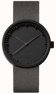 Leff Amsterdam Orologio tubolare d38 | cordura nero opaco | cinturino grigio LT71015
