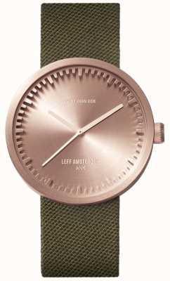 Leff Amsterdam Orologio tubolare d38 | oro rosa cordura | cinturino verde LT71034
