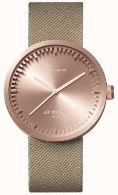 Leff Amsterdam Orologio tubolare d38 | oro rosa cordura | cinturino di sabbia LT71033