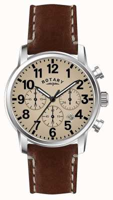 Rotary Cinturino cronografo quadrante bianco con cinturino in pelle al quarzo GS00430/31