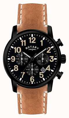Rotary Cinturino cronografo quadrante nero con cinturino in pelle al quarzo GS00433/04