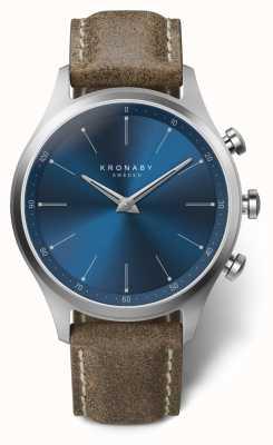 Kronaby Cinturino in pelle tartufo quadrante blu sekel 41mm a1000-3759 S3759/1