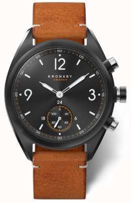 Kronaby Quadrante nero bluetooth apex 41 da uomo, pelle marrone a1000-3116 S3116/1