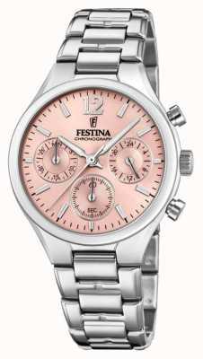 Festina Quadrante rosa in acciaio inossidabile cronografo fidanzato F20391/2