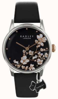 Radley Signore di radiche | stampa di fiori | quadrante nero | Cinturino in pelle RY2687