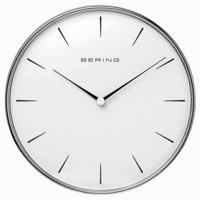 Bering Orologio da parete con quadrante bianco in acciaio inossidabile 90292-04R