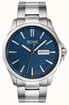 Hugo Boss Mens il quadrante blu bracciale james in acciaio inossidabile 1513533