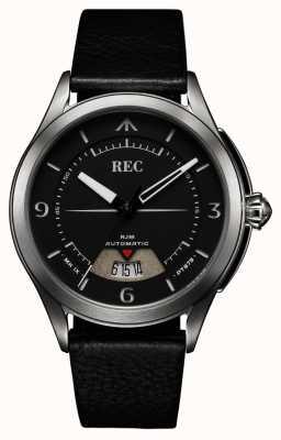 REC Cinturino automatico in pelle nera Spitfire (cinturino / taccuino gratuito) RJM-01