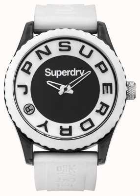 Superdry Urbano | cinturino in silicone bianco | quadrante bianco e nero SYG145WA