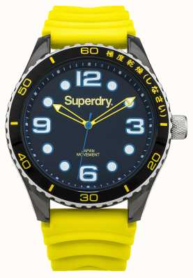 Superdry Cinturino in silicone giallo | quadrante nero | accenti blu SYG163YA