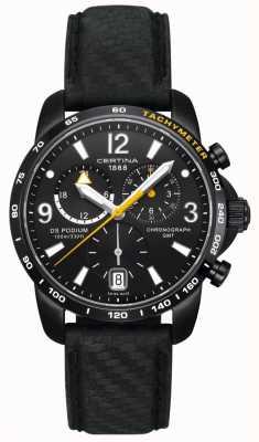 Certina Mens ds | cronografo da podio | quadrante nero | pelle nera C0016391605701