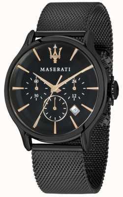 Maserati Mens epoca 42mm | quadrante nero | bracciale in maglia nera R8873618006