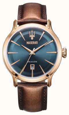 Maserati Mens epoca 42mm | quadrante blu | cinturino in pelle marrone R8851118001
