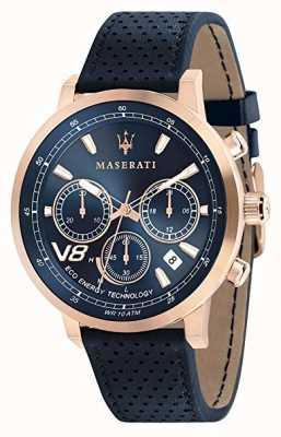 Maserati Mens gt 44mm | solare | cassa in oro rosa | quadrante blu | pelle R8871134003