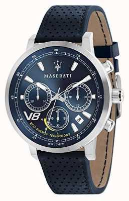 Maserati Mens gt 44mm | solare | cassa d'argento | quadrante blu | pelle blu R8871134002