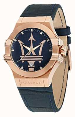 Maserati Mens potenza 42mm | cassa placcata in oro | quadrante blu R8851108027