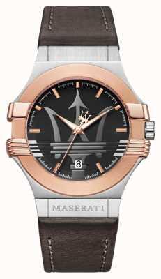 Maserati Mens potenza 42mm | acciaio inossidabile placcato in oro | stra marroni R8851108014