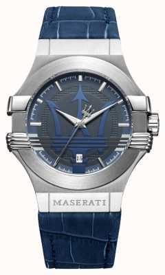 Maserati Mens potenza 42mm | acciaio inossidabile | quadrante blu | cinturino blu R8851108015