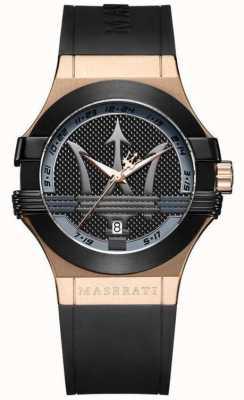 Maserati Mens potenza analogica | quadrante nero | cinturino in pelle nera R8851108002