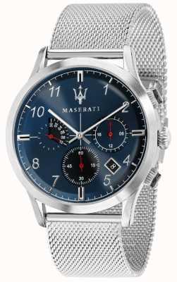Maserati Mens ricordo 42mm   quadrante blu   bracciale in acciaio inossidabile R8873625003