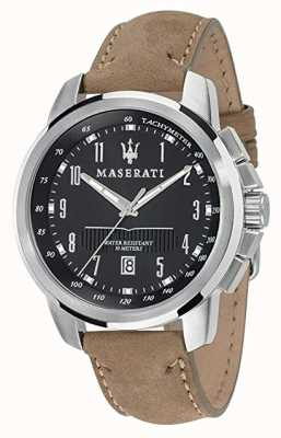 Maserati Mens successo 44mm | quadrante nero | cinturino in pelle marrone chiaro R8851121004