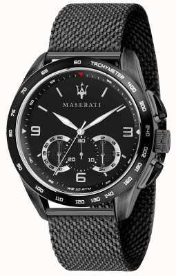 Maserati Mens traguardo 45mm | quadrante nero | bracciale in maglia nera R8873612031