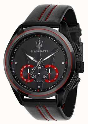 Maserati Cronografo Mens traguardo | quadrante nero | pelle nera R8871612023
