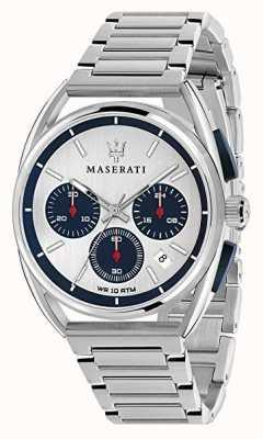 Maserati Mens trimarano 41mm | quadrante argento / blu | acciaio inossidabile R8873632001