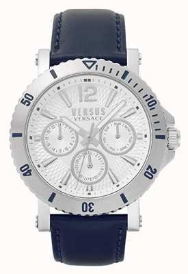 Versus Versace Mens steenberg | quadrante argento | cinturino in pelle blu VSP520118